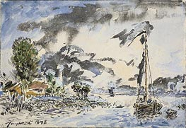 Fishing Boat, 1878 by Jongkind   Painting Reproduction