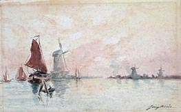 Boats on a Canal and Windmills near Dordrecht, undated by Jongkind   Painting Reproduction