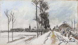 Road Leading into a Village, c.1855 by Jongkind   Painting Reproduction
