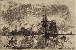 Soleil Couchant, Port d'Anvers Setting Sun, Port of Antwerp, 1868 by Jongkind   Painting Reproduction