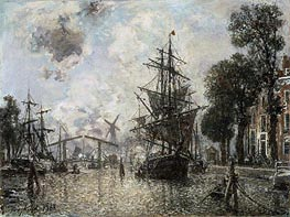 Harbor Scene in Holland, 1868 by Jongkind   Painting Reproduction