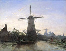 Mills at Rotterdam, 1857 by Jongkind | Painting Reproduction