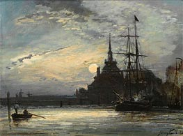 Sunset at the Hoofdpoort, Rotterdam, 1861 by Jongkind | Painting Reproduction