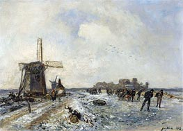 Skaters on a Frozen Waterway | Jongkind | Painting Reproduction
