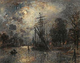 Sailing Boat in Moonshine, Holland, 1868 by Jongkind | Painting Reproduction