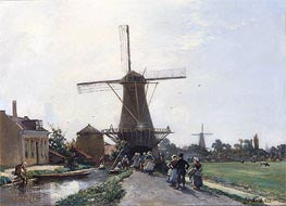 Promenade at the Edge of the Channel, Holland | Jongkind | Painting Reproduction
