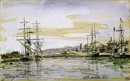 Harbor Scene, 1865 by Jongkind | Painting Reproduction