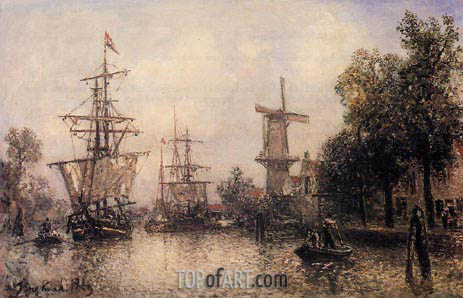 The Port of Rotterdam, 1869   Jongkind   Painting Reproduction