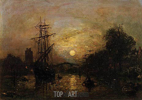 Canal in Holland, 1870   Jongkind   Painting Reproduction