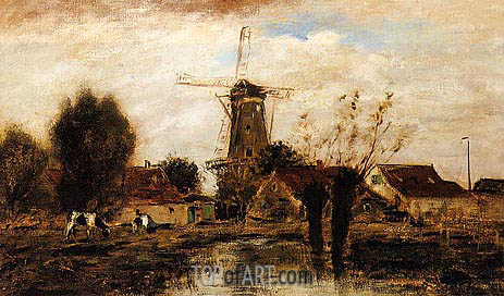 Landscape with Windmill, undated | Jongkind | Painting Reproduction