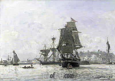 Large Sailing Boats at Honfleur, 1865 | Jongkind | Painting Reproduction