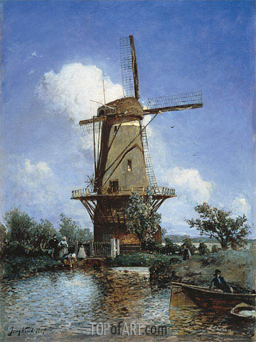 A Windmill near Delft, 1857 | Jongkind | Painting Reproduction