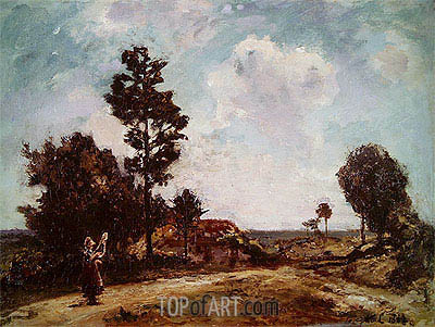 Landscape with Female Figure, 1862 | Jongkind | Painting Reproduction