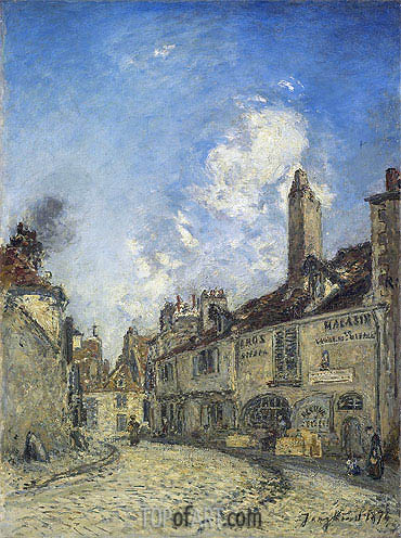Street at Nevers, the House of Adam Bellaud, 1874   Jongkind   Painting Reproduction