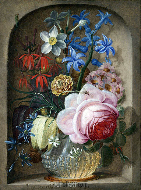 Flowers in a Vase in a Stone Niche, 1719 | Johann Adalbert Angermeyer | Painting Reproduction