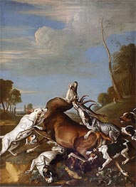 Deer Persecution, 1710 by Johann Georg Hamilton | Painting Reproduction