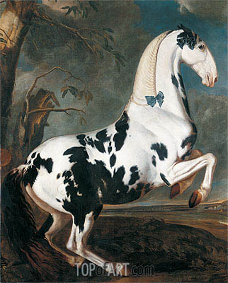The Piebald Stallion at the Eisgruber Stud, 1700 | Johann Georg Hamilton | Painting Reproduction