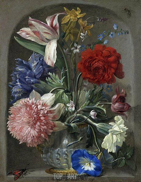 Flowers in a Vase in a Stone Niche, 1693   Johann Rudolf Byss   Painting Reproduction