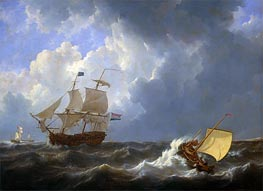 Ships on a Rough Sea, 1826 by Johannes Schotel | Painting Reproduction