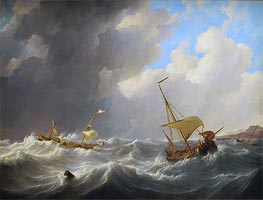 Storm on the Sea, c.1825 by Johannes Schotel | Painting Reproduction