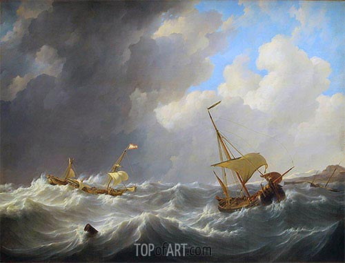 Storm on the Sea, c.1825 | Johannes Schotel | Painting Reproduction