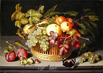 Still Life with a Basket of Fruit, 1627 | Johannes Bosschaert | Painting Reproduction