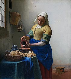 The Milkmaid (The Kitchen Maid), c.1658/60 by Vermeer | Painting Reproduction