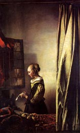 Girl Reading a Letter at an Open Window | Vermeer | Painting Reproduction