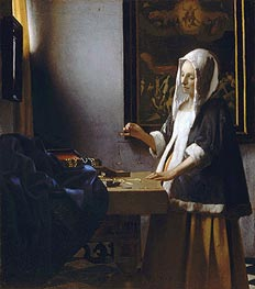 Woman Holding a Balance, c.1664 by Vermeer | Painting Reproduction
