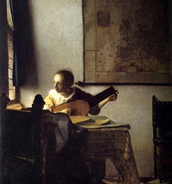 Woman with a Lute near a Window, c.1664 by Vermeer | Painting Reproduction