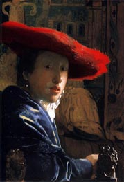 Girl with a Red Hat | Vermeer | Gemälde Reproduktion