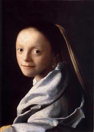 Portrait of a Young Woman, c.1667/68 by Vermeer | Painting Reproduction
