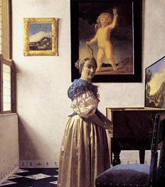 Young Woman Standing at a Virginal, c.1672/73 by Vermeer | Painting Reproduction