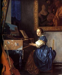 Lady Seated at a Virginal, c.1673/75 by Vermeer | Painting Reproduction