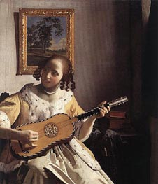 The Guitar Player, c.1670 by Vermeer | Painting Reproduction