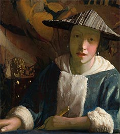Young Girl with a Flute, c.1665/75 by Vermeer | Painting Reproduction