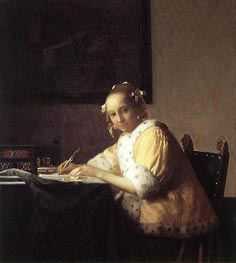A Lady Writing a Letter | Vermeer | Painting Reproduction