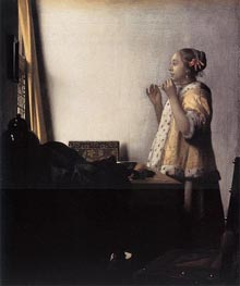 Woman with a Pearl Necklace | Vermeer | Painting Reproduction