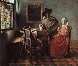 The Glass of Wine (Lady Drinking and a Gentleman) | Vermeer | Painting Reproduction