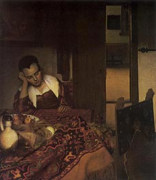 A Girl Asleep, c.1657 by Vermeer | Painting Reproduction