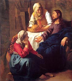 Christ in the House of Mary and Martha, c.1655 by Vermeer | Painting Reproduction