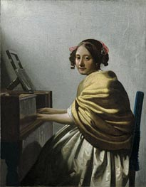 A Young Woman Seated at the Virginals | Vermeer | Gemälde Reproduktion