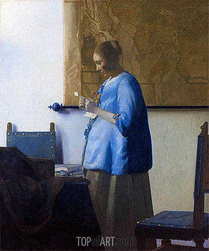 Woman Reading a Letter, c.1663/64 | Vermeer | Painting Reproduction