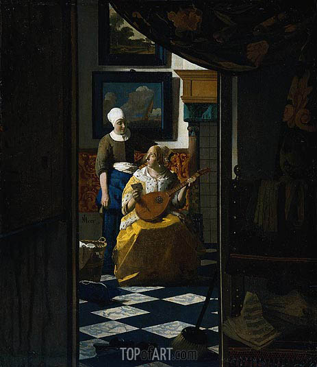 The Love Letter, c.1669/70 | Vermeer | Painting Reproduction