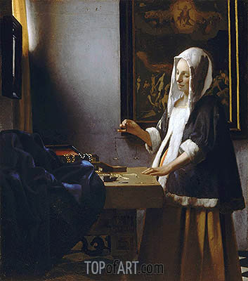 Woman Holding a Balance, c.1664 | Vermeer | Painting Reproduction