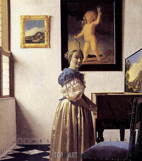 Young Woman Standing at a Virginal, c.1672/73 | Vermeer | Painting Reproduction