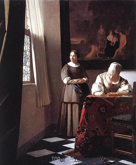 Lady Writing a Letter with Her Maid, c.1670 | Vermeer | Painting Reproduction