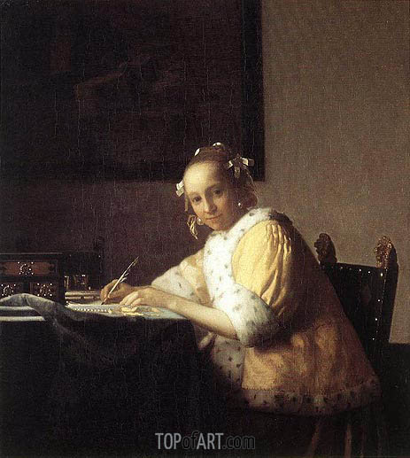 A Lady Writing a Letter, c.1665/66 | Vermeer | Painting Reproduction