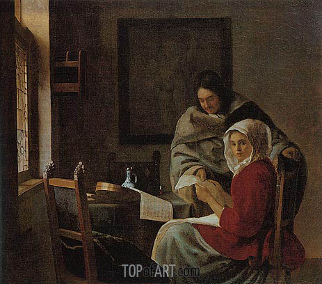 Girl Interrupted at Her Music, c.1660/61 | Vermeer | Painting Reproduction