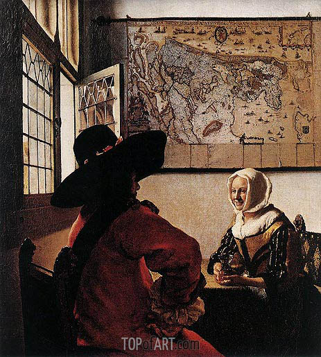 Officer with a Laughing Girl, c.1658/60 | Vermeer | Gemälde Reproduktion